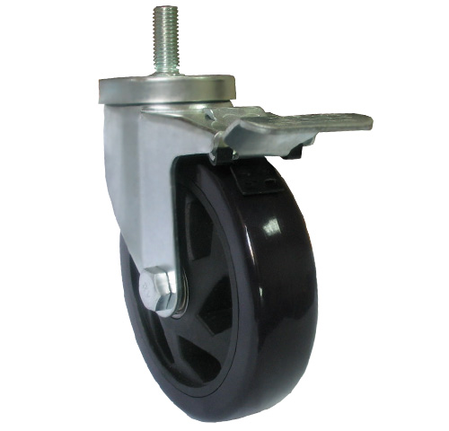Black medium duty threaded stem caster with total brake